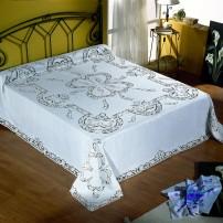 Copriletto matrimoniale Intaglio in puro lino