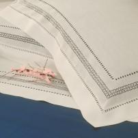 Lenzuolo matrimoniale Punto Norvegese in puro lino