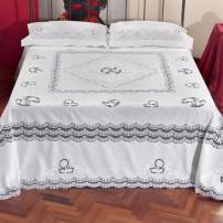 Copriletto/Lenzuolo matrimoniale e Tovaglia x12 Intaglio e Rebrode in puro lino