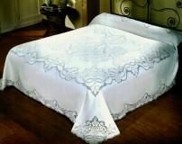 Completo Copriletto/Lenzuolo matrimoniale e Tovaglia x12 Ricamato in Sfilato Siciliano in puro lino