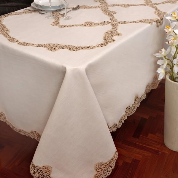 Tovaglia da tavola ricamata Cantù in puro lino - CAPPELLINI STORE