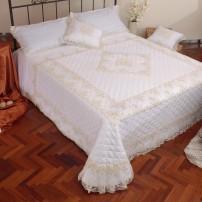 Trapuntino Rebrodè in puro lino LENZUOLO MATRIMONIALE e coppia cuscini arredo