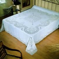 Copriletto matrimoniale e lenzuolo matrimoniale Sfilato in puro lino