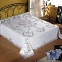 Copriletto/Lenzuolo matrimoniale e Tovaglia x12 Intaglio in puro lino