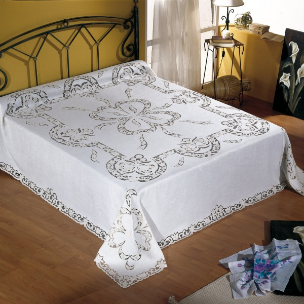 Copriletto Matrimoniale Di Lino.Completo Copriletto Lenzuolo Matrimoniale E Tovaglia X12