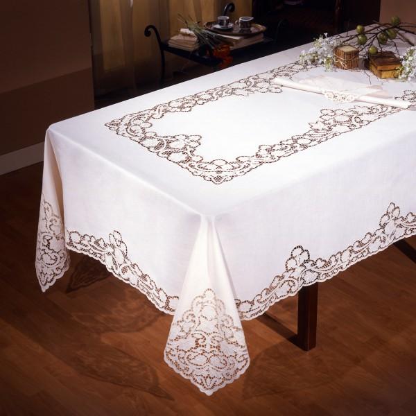 Tovaglie Da Tavola Eleganti.Intaglio Thread Tablecloth In Pure Linen Cappellini Store