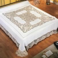 Completo Copriletto/Lenzuolo matrimoniale e Tovaglia x12 Filet in puro lino
