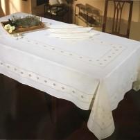 Intaglio Thread Tablecloth in Pure Linen