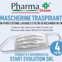 Mascherina filtrante kit da1 e 4 filtri