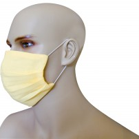 1 Face Mask in pure linen lemon yellow color with 10 spare filters included