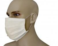 Mascherina Protezione in Puro Lino Panna con inserimento filtri 10 di ricambio