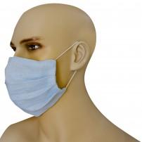Mascherina Protezione in Puro Lino Azzurro Fiordaliso con inserimento filtri 10 di ricambio